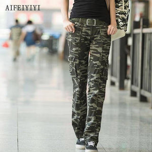 Women Workout Casual Military Camouflage Cargo Jeans Pants Denim Overalls Ladies Straight Multi-pocket Trousers Pantalon Femme |  | akolzol