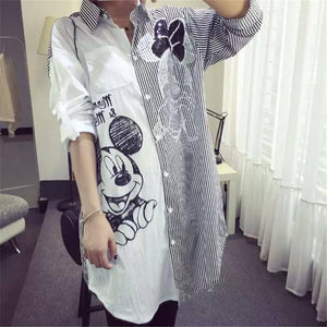 Women Shirt Sun Protection Cartoon Fashion Striped Stirching Shirts  Long Sleeve Casual Loose Female Plus Size Midi Blouse | akolzol