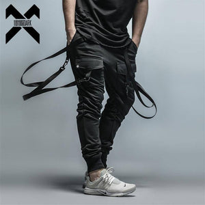 11 BYBB'S DARK Cargo Pants Men Straps Black Hip Hop Casual Streetwear Sweatpants Ribbon Men's Pencil Pants Black DG101 | akolzol