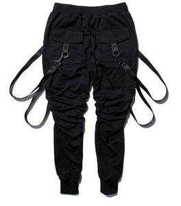 11 BYBB'S DARK Cargo Pants Men Straps Black Hip Hop Casual Streetwear Sweatpants Ribbon Men's Pencil Pants Black DG101