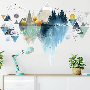 Nordic ins style Triangle Dreamy Mountain Wall Stickers Living room Bedroom Vinyl Wall Decals Creative Home Decor |  | akolzol