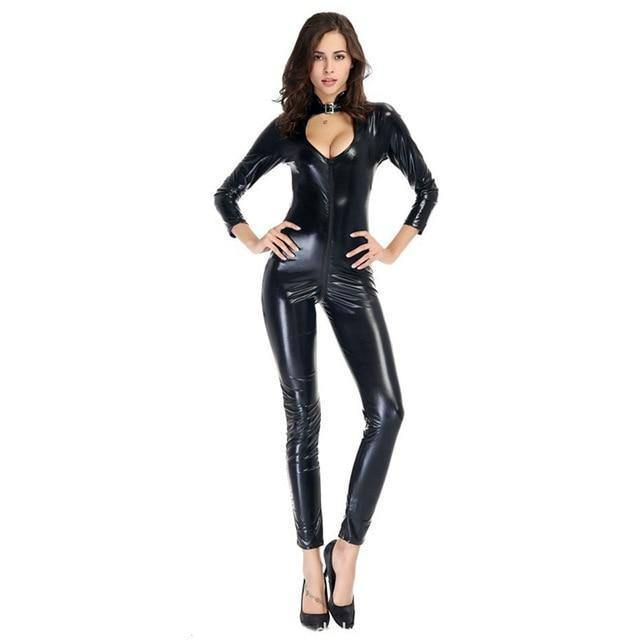 Sexy wetlook Faux Leather Catsuit PVC Latex Bodysuit Front Zipper Open Crotch Clubwear fetish hot erotic Pole Dance Lingerie |  | akolzol