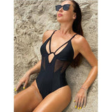 Solid Black Mesh One Piece Swimsuit Women Monokini Push Up Badpak 2020 New One Piece Bodysuit Bikini Female Beachwear |  | akolzol