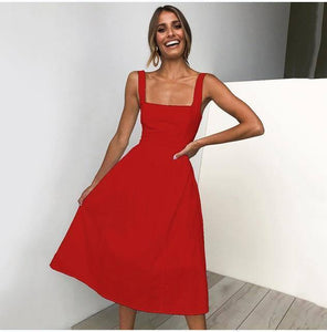 Lossky Casual Solid Dress Women Midi Long Summer Sexy Backless Slip Dresses Ruched Fashion Elegant Party Clothes Leisure 2021 | akolzol