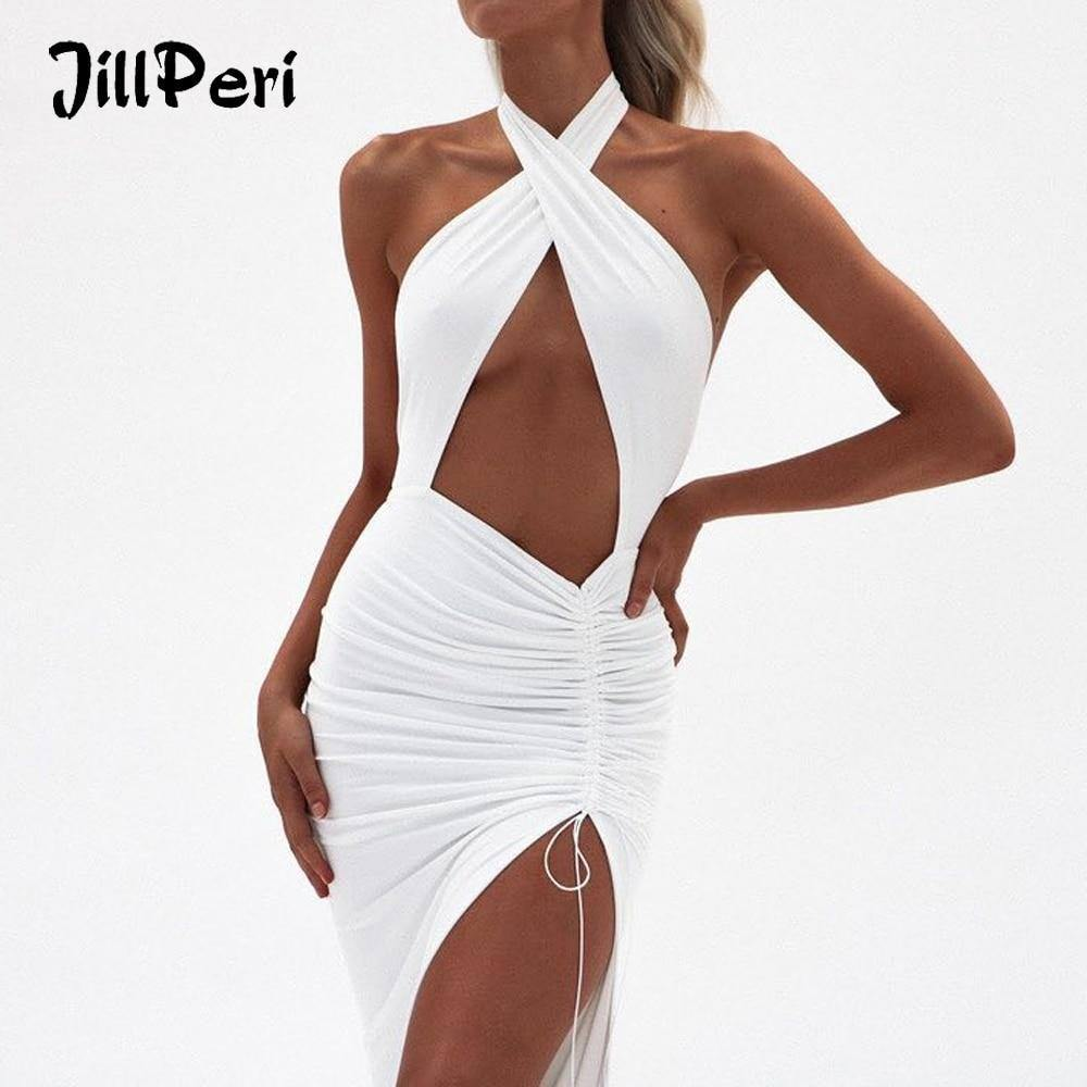 JillPeri Women Sexy Front Cross Halter Backless Maxi Dress Irregular Hollow Out Waist Strappy Ruched Leg Open Gown Party Dress | akolzol