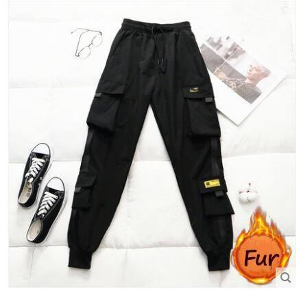 Spring Women's High Waist Cargo Pants 2020 Winter FUR Sports Loose Pants Harajuku BF Velvet Cargo Pants Elastics Trousers | akolzol
