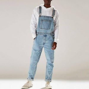 Men's Denim Bib Pants Washed Full Length Jeans Jumpsuits Hip Hop Straight Jean Overalls for Men Streetwear New Male Jumpsuit D30