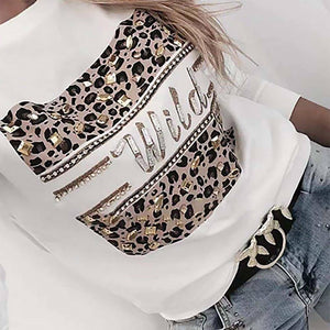 Letter Print Women Blouses And Shirt Spring Autumn Long Sleeve Fashion Leopard Top Blouses For Lady 2020 Casual Female Tee Shirt
