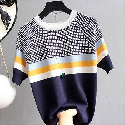 shintimes Blusas Mujer De Moda 2019 New Vintage Ladies Tops Striped Summer Blouse Pink Elasticity Short Sleeve Blue Women Blouse | akolzol