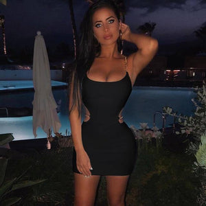 Toplook Chains Dress Sexy Women Summer 2019 Spaghetti Strapes Sleeveless Hollow Out Black Mini Dresses Club Party Sundress | akolzol