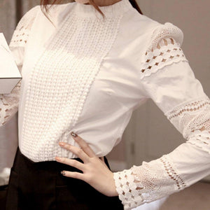 2019 Lace Chiffon Blouse Women Shirt Plus Size Casual ladies long sleeve Womens Tops and Blouses S-5XL Hook Flower Hollow | akolzol