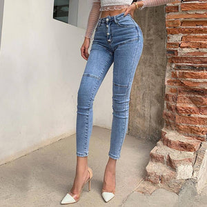 Spring / Summer 2020 New Jeans Women's High Waist Stretch Hip Slim Fit Skinny Skinny Feet Nine Points Pencil Pants |  | akolzol