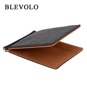 BLEVOLO Brand Men Wallet Short Skin Wallets Purses PU Leather Money Clips Sollid Thin Wallet For Men Purses 4 Colors | akolzol