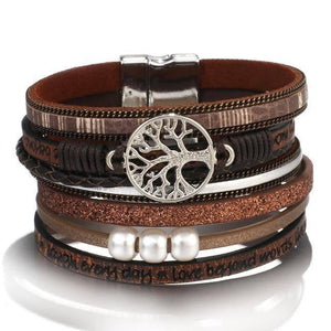 ALLYES Tree of Life Charm Pearl Leather Bracelets for Women Fashion Ladies Bohemian Multilayer Wide Wrap Bracelet Female Jewelry