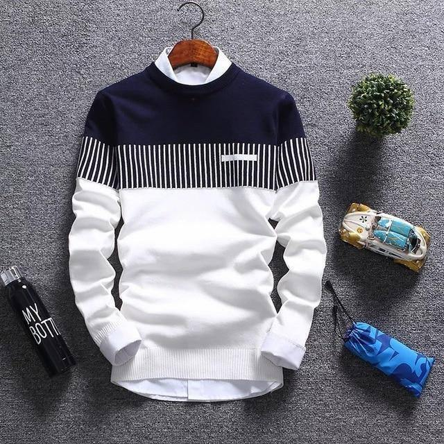 2020 New Men's Autumn Winter Pullover Wool Slim Fit Striped Knitted Sweaters Mens Brand Clothing Casual pull homme hombre |  | akolzol