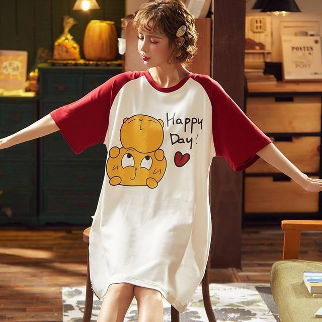 Couple Summer Pajamas Set Men T Shirt Shorts Women Dress Pijama Unit Cotton Home Sleepwear Cartoon Funny Lounge Short Sleeve 3XL | akolzol
