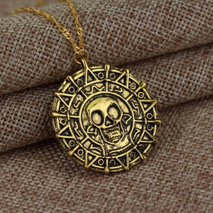 Hot Pirates Of The Caribbean Necklace Jack Sparrow Aztec Coin Medallion Vintage Gold Bronze Silve Pendant Wholesale