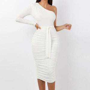 Women Elegant Fashion Sexy White Cocktail Party Slim Fit Dresses One Shoulder Belted Ruched Design Bodycon Midi Dress | akolzol