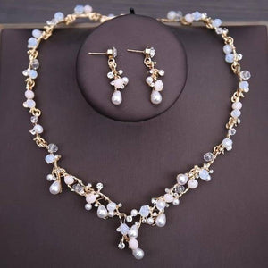 Luxury Crystal Beads Pearl Butterfly Costume Jewelry Sets Floral Rhinestone Choker Necklace Earrings Tiara Wedding Jewelry Set | akolzol