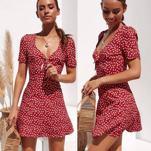 Fashion Women Short Sleeve Wrap Boho Floral Mini Dress Ladies Summer Holiday Party Sundress Female vestidos |  | akolzol