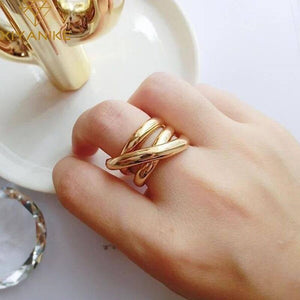 XIYANIKE 925 Sterling Silver Rings for Women Couples Creative Jewelry Vintage Handmade Cross Winding Ring Party Accessories Gift