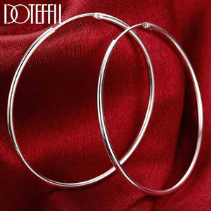 100% 925 Sterling Silver Hoop Earring 50mm Round Circle Loop Gifts Simple Smooth Big Earrings For Women Jewelry |  | akolzol