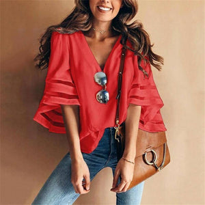 Women's Blouses V-Neck Flared Sleeves Mesh Patchwork Shirts Summer Plus Size Casual Loose Mesh Women Blouse Solid Red Tops 5XL