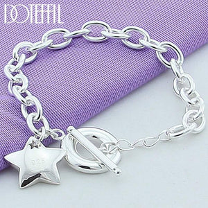 925 Sterling silver Star TO buckle Charm Bracelets For Women Fashion Wedding engagement Fine Jewelry | akolzol