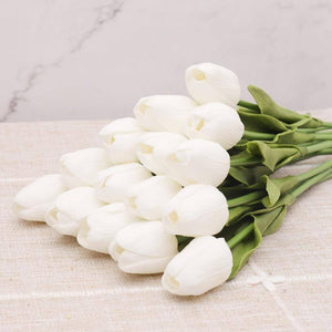 10pcs PU Bouquet Artificial Flowers Tulips White Latex Real Touch Bedroom Living Room Decoration Fake Flower Home Wedding Decor | akolzol