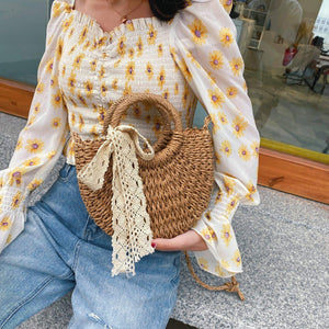 Leisure Solid Color Handmade Half-Round Rattan Woven Straw Bag Summer Women Messenger Crossbody Bags Girls Small Beach Handbag | akolzol
