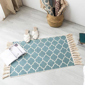 Retro Bohemian Carpet Hand Woven Cotton Linen Carpet Rug  Bedside Rug Geometric Floor Mat Living Room Bedroom Carpet Home Decor | akolzol