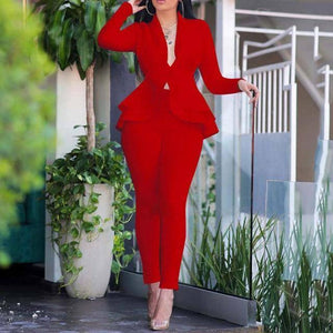 2020 Autumn Blazer Set Women Ladies blazer Ruffle Women Suits Elegant Women's Suit Sets Winter Office Lady Pant Suits For Women