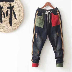 New Arrival Spring Arts Style Women Elastic Waist Cotton Denim Harem Pants Patchwork Pocket Vintage Loose Ripped Jeans S582 |  | akolzol