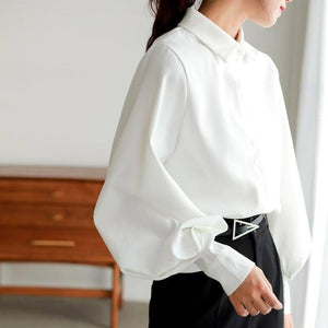 Women blouse vintage Turn-down Collar Spring Autumn Lantern sleeve women shirts white tops long sleeve shirt black ladies tunic