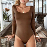 Forefair Sexy Bodycon Bodysuit Long Sleeve Square Neck Sheath Open Crotch Basic White Black Red Overalls Women Body Top | akolzol