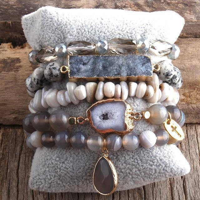 RH New Designer Boho Beaded Bracelet Set Natural Stone & Druzy 5pc Bracelets Bangles Set For Fashion Jewelry |  | akolzol