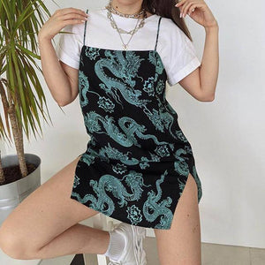 Vintage Dragon Printed Mini Dress Summer 2020 Women Street Strap Dresse Club Slim Party Tigh Short Dress Harajuku Robes vestidos |  | akolzol