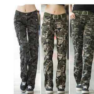 Women Workout Casual Military Camouflage Cargo Jeans Pants Denim Overalls Ladies Straight Multi-pocket Trousers Pantalon Femme | akolzol