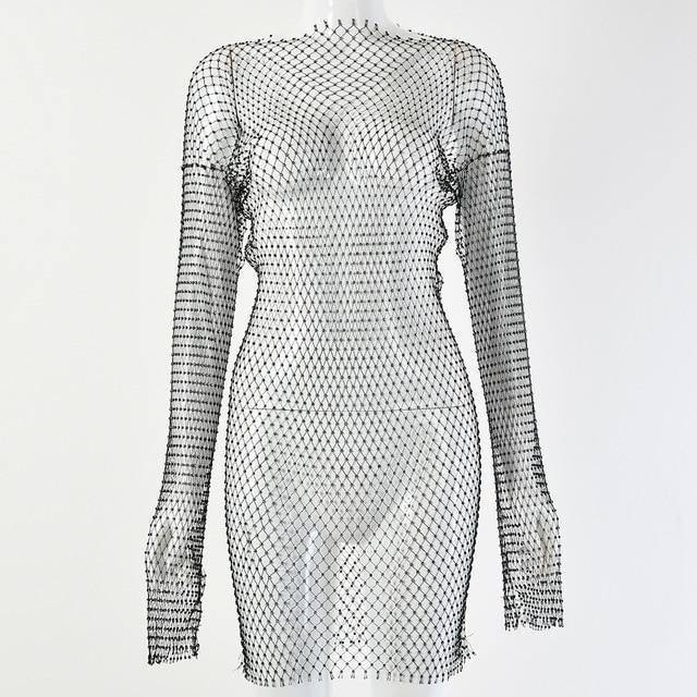DIRTYLILY New Crystal Diamond Sexy Bodycon Dress Women Hollow Out Long Sleeve Mini Dress 2020 Summer  See Through Party Dress | akolzol