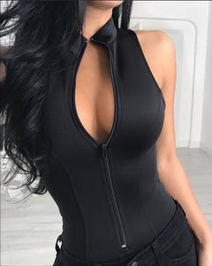 New Summer Women Zipper Front Solid Sleeveless Rompers Bodysuit Plunge Sleeveless Sexy Slim Solid Playsuit | akolzol