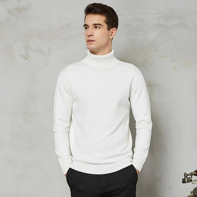 8 Color Turtleneck Sweater Men 2020 Autumn Winter New Thick Warm Slim Fit Solid Color Pullover White Sweater Male Brand Red Blue | akolzol