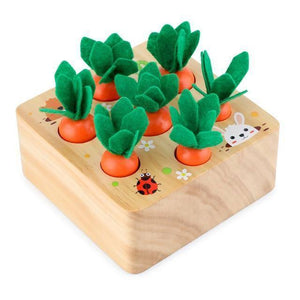 Wooden Toys Baby Montessori Toy Set Pulling Carrot Shape Matching Size Cognition Montessori Educational Toy Wooden Toys baby