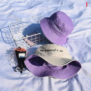 Double Sided Wear Straberry Embroidery Panama Bucket Hat Men Women Summer Bucket Cap Hip Hop Hat Fisherman Hat