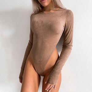 Women Suede Bodysuit Winter O Neck Long Sleeve Sexy Body Top Skinny Casual Solid Lady Khaki Bodysuits Streetwear |  | akolzol