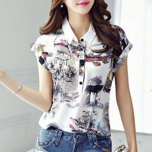 Women Spring Summer Style Chiffon Blouses Shirt Lady Casual Short Sleeve Turn-down Collar Printed Casual Loose Tops DF3548