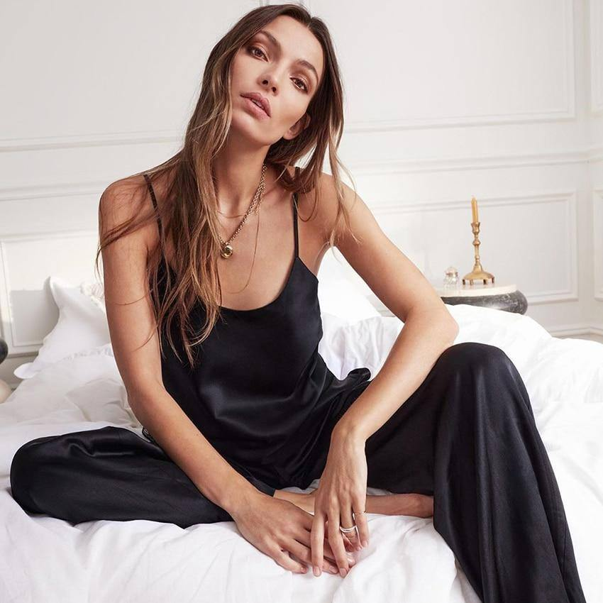 HiLoc Backless Satin Sexy Pajamas Black Lace Pajamas With Pants Loose Spaghetti Strap Intimate Lingerie Sleepwear Women Pj Set | akolzol
