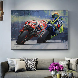 Abstract Oil Prints Poster Motorcycle Canvas Painting Posters Print Cuadros Wall Art Picture for Living Room Home Decoration | akolzol