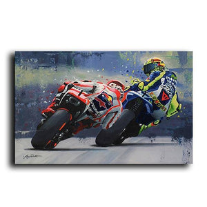 Abstract Oil Prints Poster Motorcycle Canvas Painting Posters Print Cuadros Wall Art Picture for Living Room Home Decoration