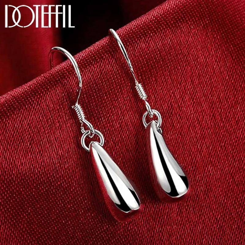 925 Sterling Silver Water Droplets Raindrops Drop Earrings For Woman Wedding Engagement Party Fashion Charm Jewelry | akolzol