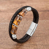 100%Natural Tiger Eye Stone Chakra Jewelry Charm Stainless Steel Men's Genuine Leather Braclets Natural Stone Bracelet Wholesale | akolzol